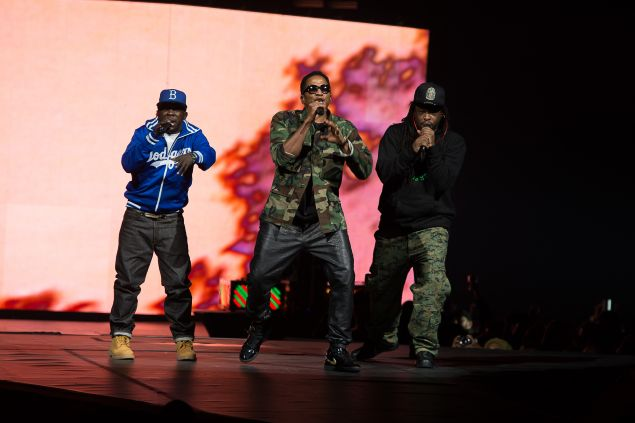 Phife Dawg, Q-Tip and Jarobi White of A Tribe Called Quest perform at Barclays Center on November 20, 2013.