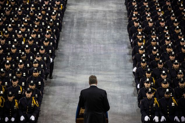 New York City Mayor Bill De Blasio speaks at the 2014 NYPD graduation ceremony.