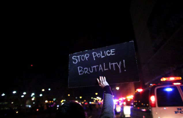 People march on the West Side Highway during a protest December 4, 2014 in New York City. Protests began after a Grand Jury decided to not indict officer Daniel Pantaleo. Eric Garner died after being put in a chokehold by Pantaleo on July 17, 2014.
