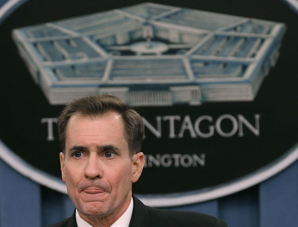 ARLINGTON, VA - JANUARY 09: Pentagon Press Secretary Rear Adm. John Kirby conducts a briefing at the Pentagon, January 9, 2015 in Arlington, Virginia. Rear Adm. Kirby spoke about Defense Secretary Chuck Hagel's schedule, and Department of Defense issues.
