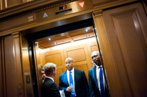 WASHINGTON, DC - June 15: Senator Cory Booker (D-NJ) leaves in an elevator after assisting Senator Chris Murphy (D-CT) in waging an almost 15-hour fillibuster on the Senate floor in order to force a vote on gun control on June 15, 2016 in Washington, DC. Murphy wants the Senate to vote on a measure banning anyone on the no-fly list from purchasing a weapon. (Photo by Pete Marovich/Getty Images)