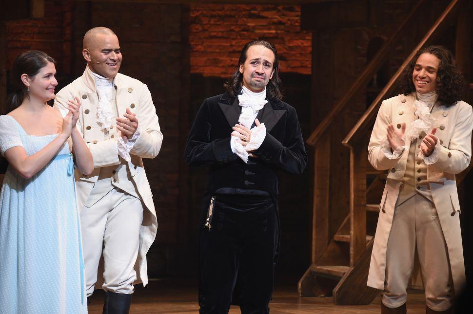 "NEW YORK, NY - JULY 09: (L-R) Phillipa Soo, Christopher Jackson, Lin-Manuel Miranda and Anthony Ramos attend Lin-Manuel Miranda's final performance of ""Hamilton"" on Broadway at Richard Rodgers Theatre on July 9, 2016 in New York City."
