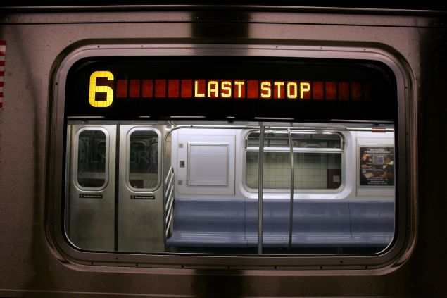 A #6 train stops before midnight in the Brooklyn Bridge station of the New York City subway system in New York City.