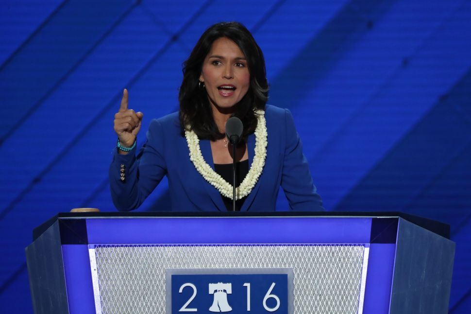 Representative Tulsi Gabbard on the second day of the Democratic National Convention at the Wells Fargo Center, July 26, 2016 in Philadelphia, Pennsylvania.