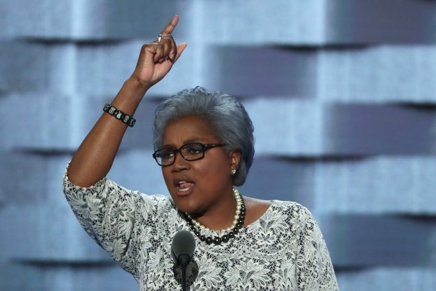Interim chair of the Democratic National Committee, Donna Brazile delivers remarks on the second day of the Democratic National Convention at the Wells Fargo Center, July 26, 2016 in Philadelphia, Pennsylvania.