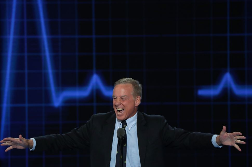 """Former Gov. Howard Dean reenacts his Iowa Caucus """"Dean Scream"""" moment during closing remarks on the second day of the Democratic National Convention at the Wells Fargo Center, July 26, 2016 in Philadelphia, Pennsylvania."""