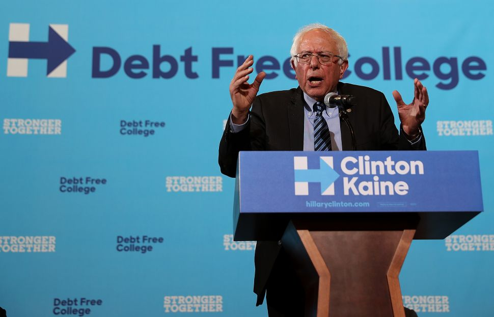 U.S. Sen. Bernie Sanders (I-VT) speaks during a campaign rally with democratic presidential nominee former Secretary of State Hillary Clinton at University of New Hampshire on September 28, 2016 in Durham, New Hampshire. Hillary Clinton is campaigning in New Hampshire.