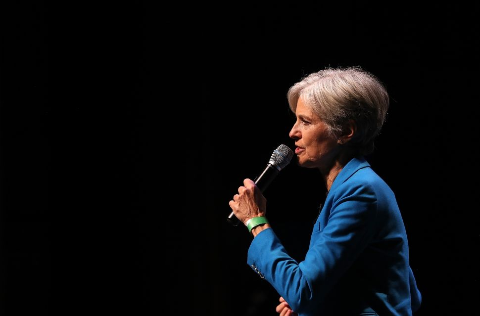 NEW YORK, NY - OCTOBER 12: Green party nominee Jill Stein speaks during a campaign rally at the Hostos Center for the Arts & Culture on October 12, 2016 in New York City. Jill Stein and her running mate Ajamu Baraka are campaigning in New York.