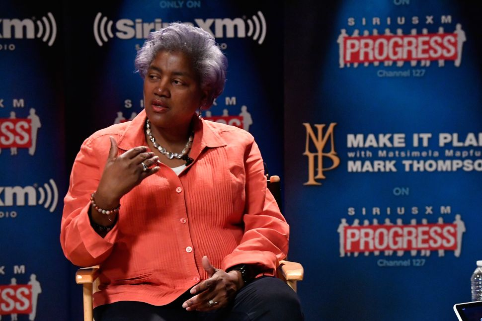"""DNC Chair Donna Brazile speaks with host Mark Thompson during a """"Leading Ladies"""" discussion at SiriusXM studios on October 17, 2016 in Washington, DC."""