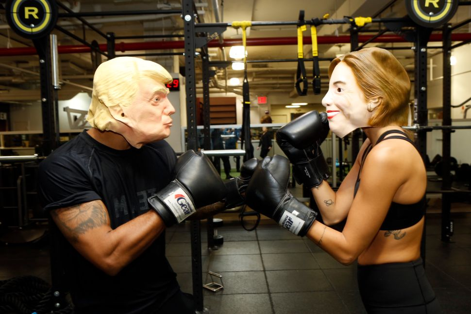 New York Sports Club Gets In The Election Spirit With Hillary Clinton And Donald Trump Boxing Inspired Class on October 27, 2016 in New York City.