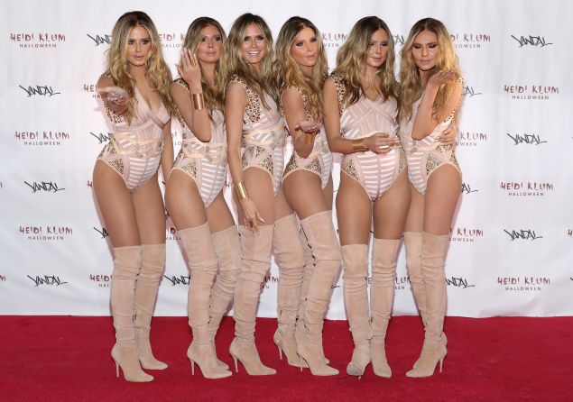 Heidi Klum and her clones prepped for her Halloween bash in a Soho penthouse.