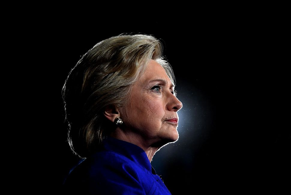 US Democratic presidential nominee Hillary Clinton looks on during a campaign rally in Tempe, Arizona, on November 2, 2016. / AFP / JEWEL SAMAD