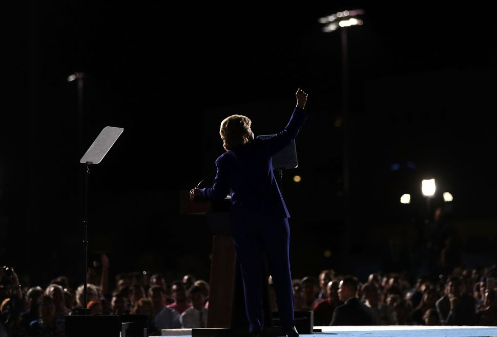 Democratic presidential nominee Hillary Clinton speaks during a campaign rally at Arizona State University on November 2, 2016 in Tempe, Arizona. The U.S. presidential general election is November 8.