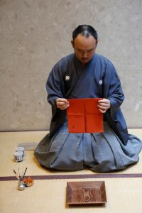 Incense master Souhitsu Isshiken Hachiya performing the ceremony at Byredo's Wooster boutique.