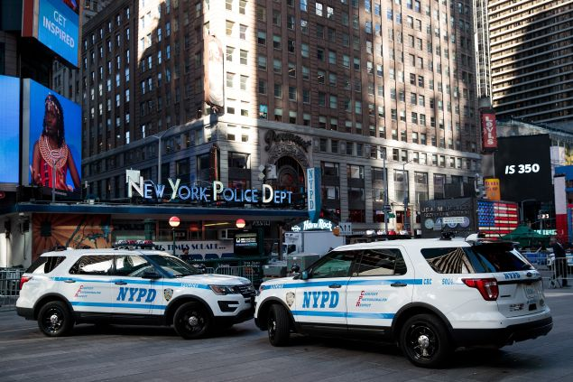 New York City Police vehicles parked in Times Square ahead of a press conference with Mayor Bill de Blasio and NYPD Commissioner James O'Neill on November 7 2016.