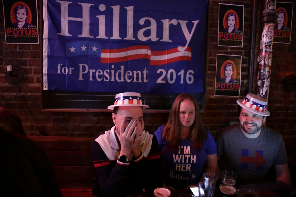 Hillary Clinton supporters gather to watch television coverage of the US presidential election at the Comet Tavern in Seattle, Washington on November 8, 2016.