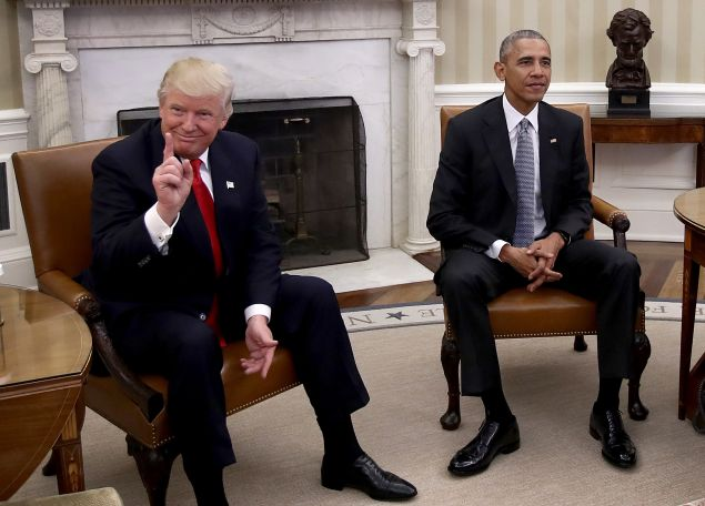 President-elect Donald Trump with President Barack Obama.