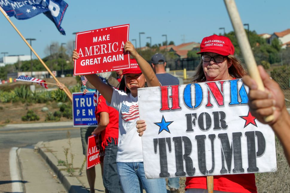 Mari Hayden joins supporters of US President-elect Donald Trump holding a street-side rally in front of Marine Corps Base Camp Pendleton in Oceanside, California, on November 11, 2016.