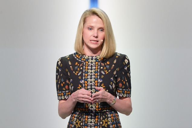 LOS ANGELES, CA - NOVEMBER 14: President and CEO of Yahoo! Marissa Mayer speaks onstage at Glamour Women Of The Year 2016 LIVE Summit at NeueHouse Hollywood on November 14, 2016 in Los Angeles, California. (Photo by Matt Winkelmeyer/Getty Images for Glamour)