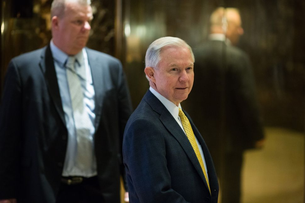 Alabama Senator Jeff Sessions arrives at Trump Tower on November 16, 2016 in New York City. Sessions accepted Trump's offer to be U.S. Attorney General today.