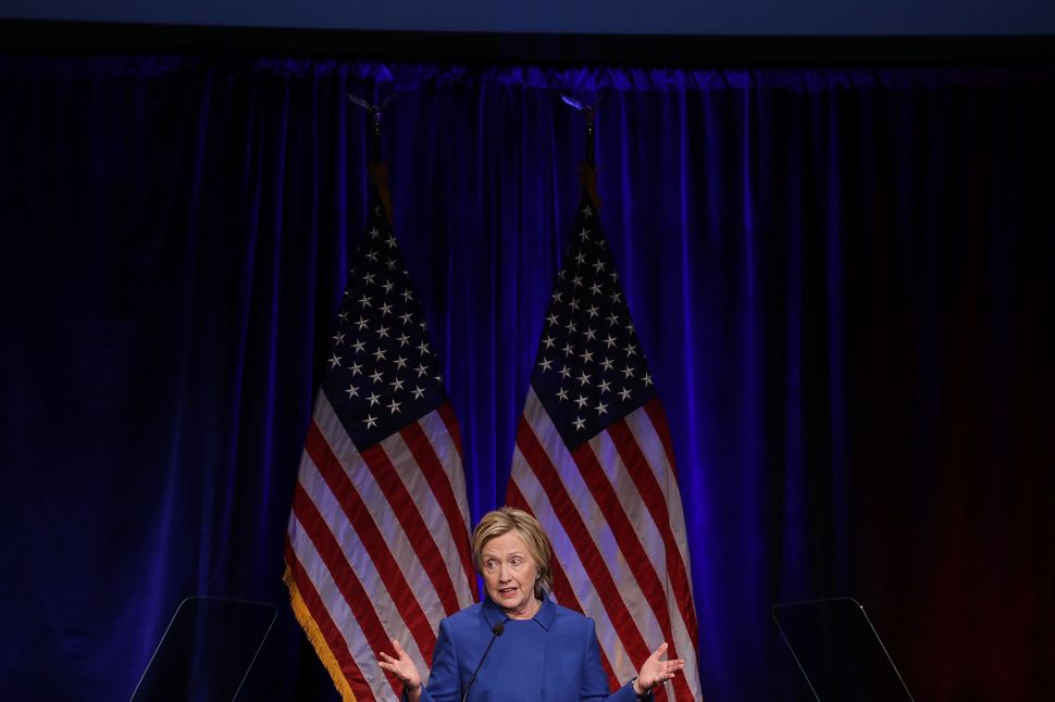 Former Secretary of State and former Democratic Presidential nominee Hillary Clinton delivers remarks while being honored during the Children's Defense Fund's Beat the Odds Celebration at the Newseum November 16, 2016 in Washington, DC.