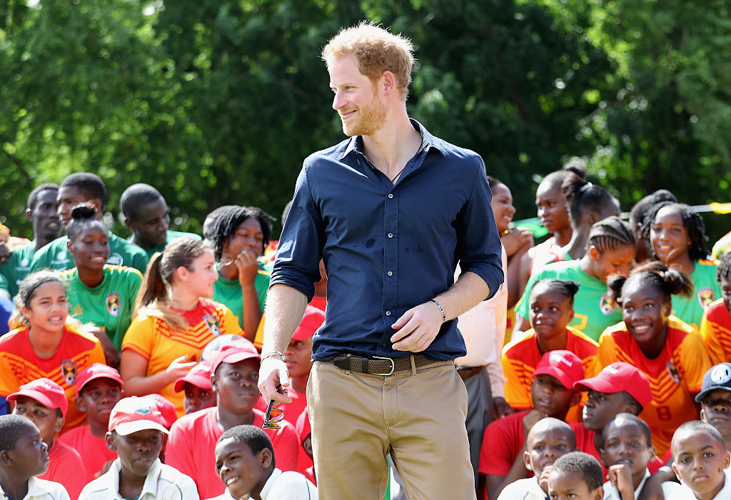 Prince Harry attends a community sporting event at Queen Park Ground on the ninth day of an official visit to the Caribbean on November 28, 2016 in St Georges, Grenada. Prince Harry's visit to The Caribbean marks the 35th Anniversary of Independence in Antigua and Barbuda and the 50th Anniversary of Independence in Barbados and Guyana. (Photo by Chris Jackson/Getty Images)