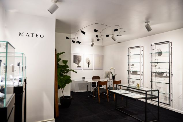 The interior of Mateo New York's downtown boutique is sleek and minimal.