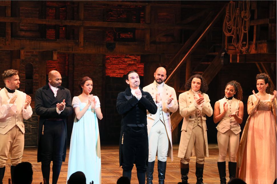 Javier Muñoz delivered an emotional, personal appeal on behalf of Actor's Fund at last night's performance of 'Hamilton.'