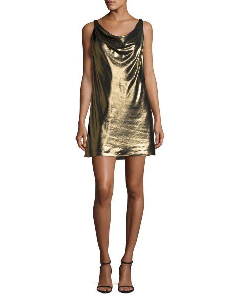 Haute Hippie, Morton Lamé Cowl Slip Dress, Gold, $495