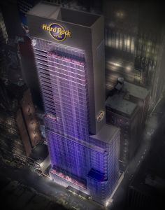 A rendering of the Hard Rock Hotel in New York.