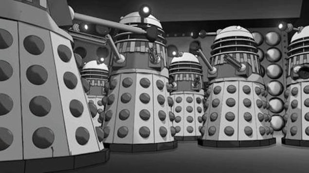 "A still from the animated ""lost"" Doctor Who story, ""The Power of the Daleks."""