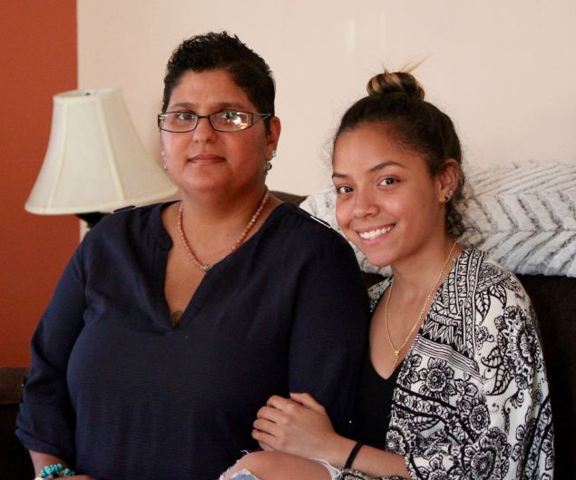 Iris and her daughter Destiny at home in October 2016