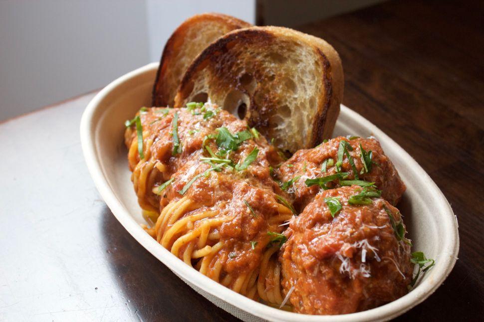 Spaghetti with Sunday gravy and meatballs