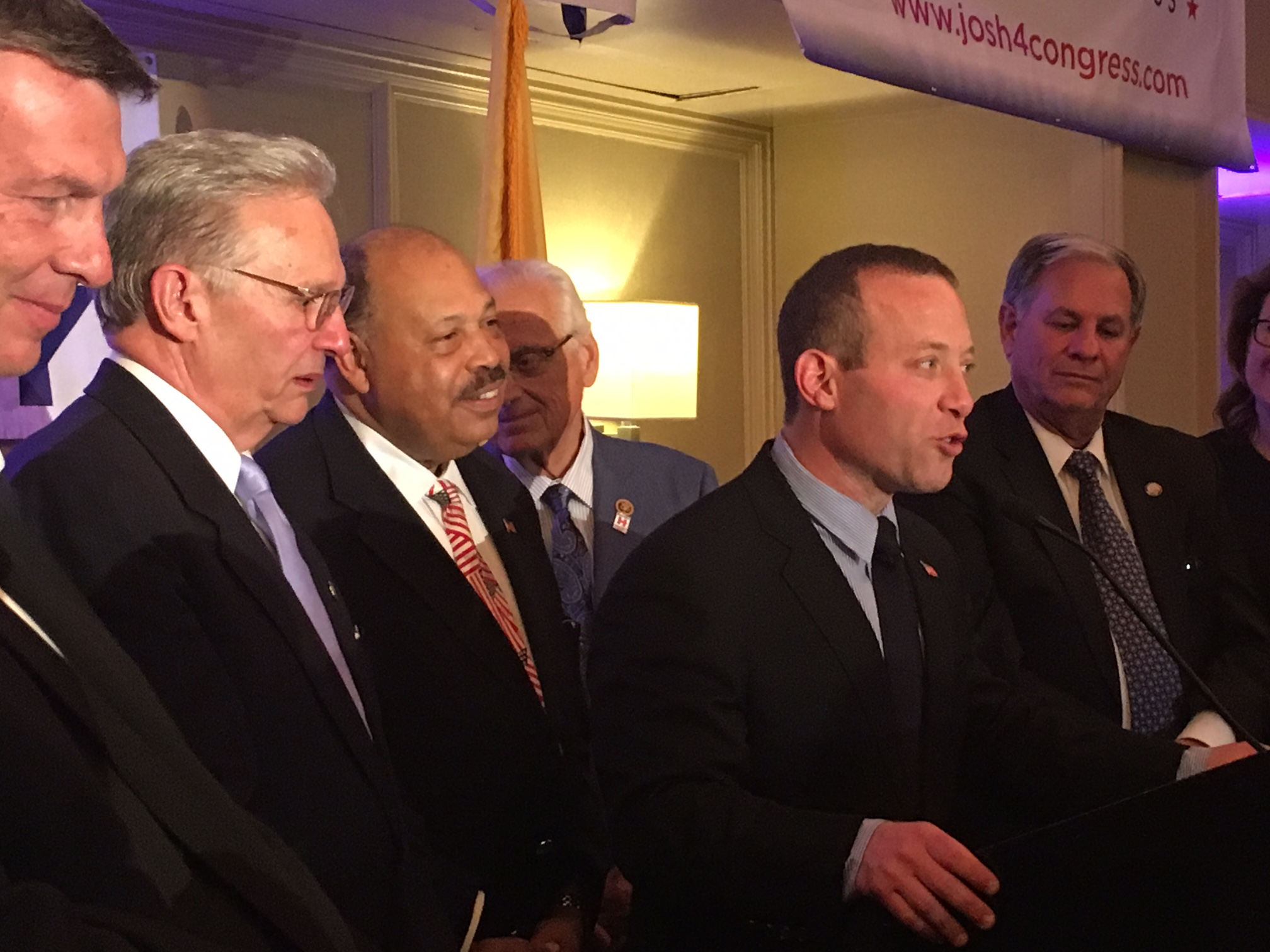 Congressman-elect Josh Gottheimer addresses Democrats following his victory.