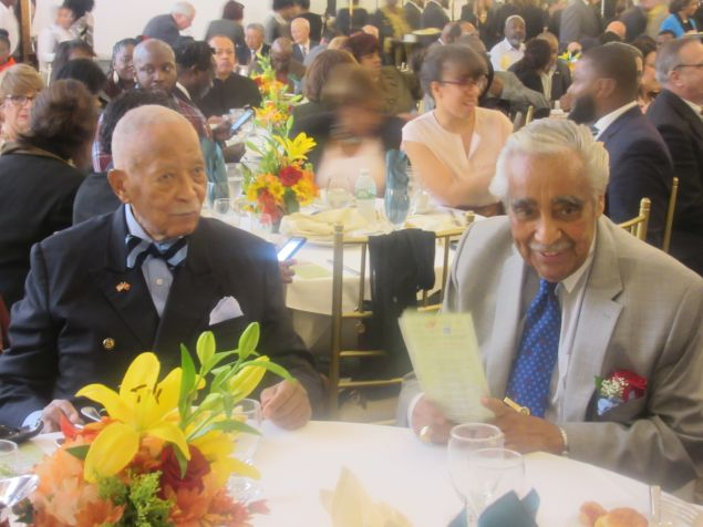 Former Mayor David Dinkins , left, and Congressman Charles Rangel, right, the only surviving members of the Gang of Four, listen during the power breakfast and tribute.