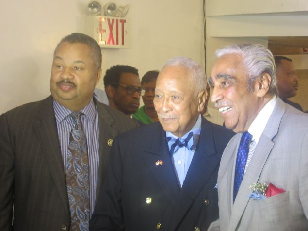 Congressman Charlie Rangel, left, with former Mayor David Dinkins, center, and New Jersey Congressman Donald Payne, left.