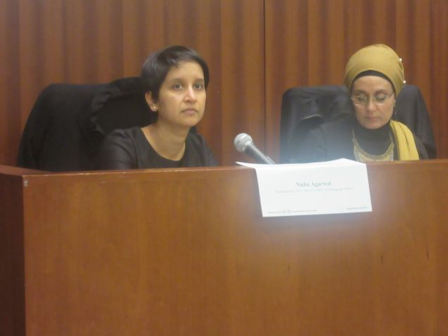 Nisha Agarwal, commissioner of the Mayor's Office of Immigrant Affairs, speaks on a panel about the challenges the Muslim community is facing post-election.
