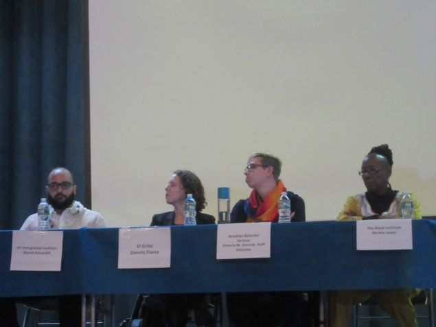 Bertha Lewis of the Black Institute, far right, participated in the panel discussion of a civil and human rights speakout in Brooklyn.