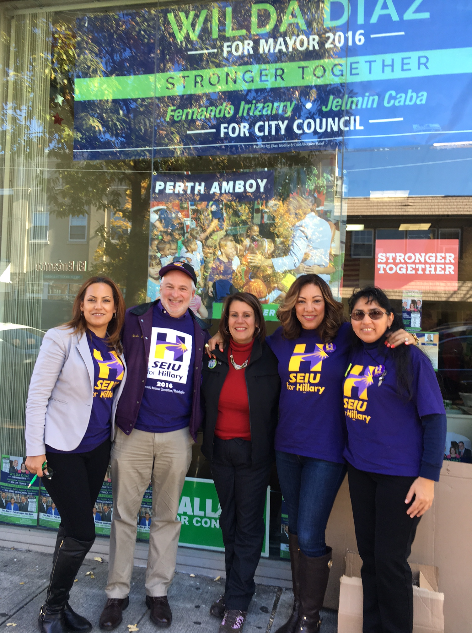 Diaz with SEIU volunteers.