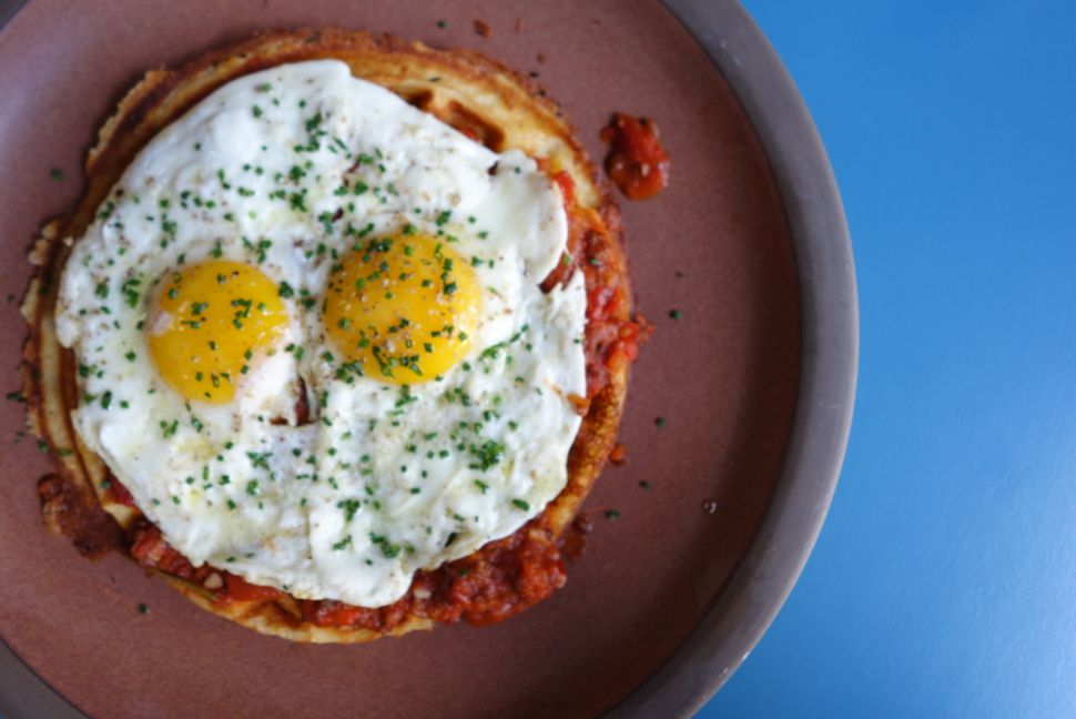 Beef-and-pork bolognese waffle
