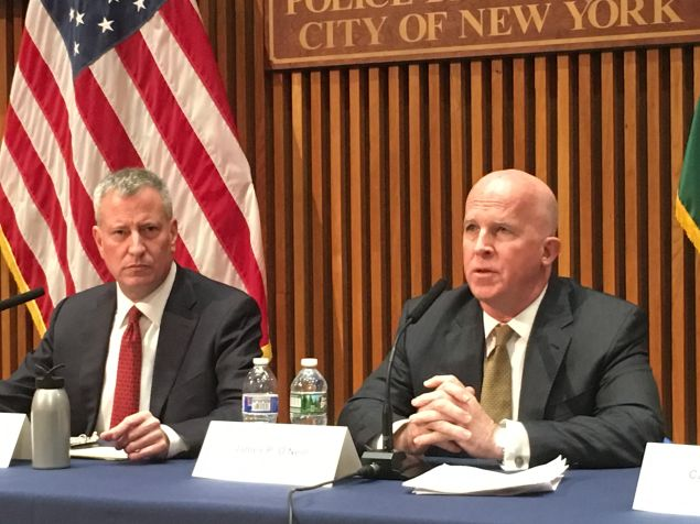 Mayor Bill de Blasio and Police Commissioner James O'Neill discussing the latest crime statistics at One Police Plaza.