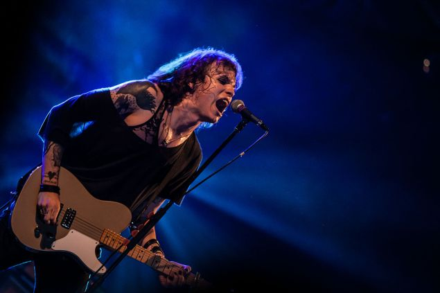 Laura Jane Grace performs with Against Me!