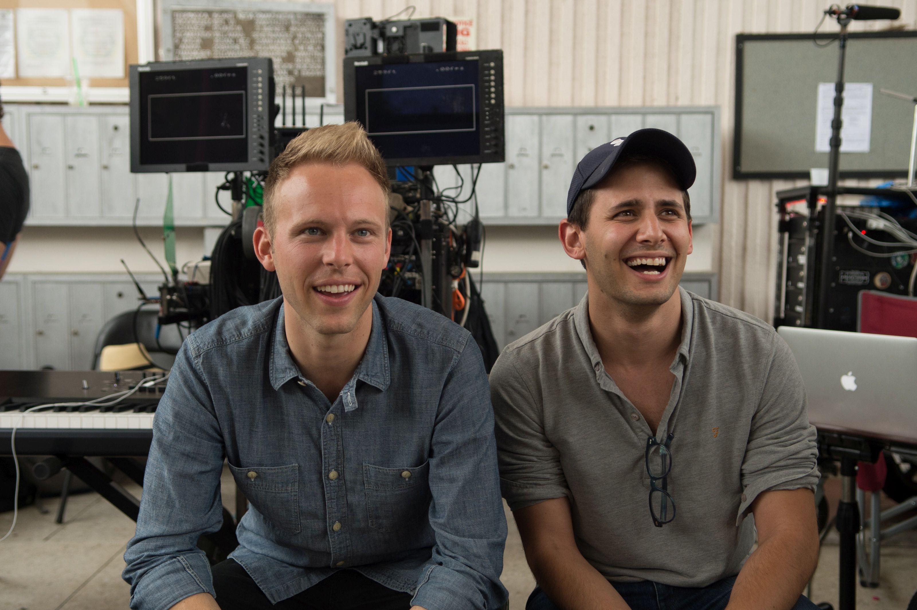 Benj Pasek and Justin Paul on the set of La La Land.