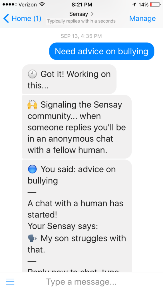 Sensay.co uses text messages to quickly connect strangers in need.