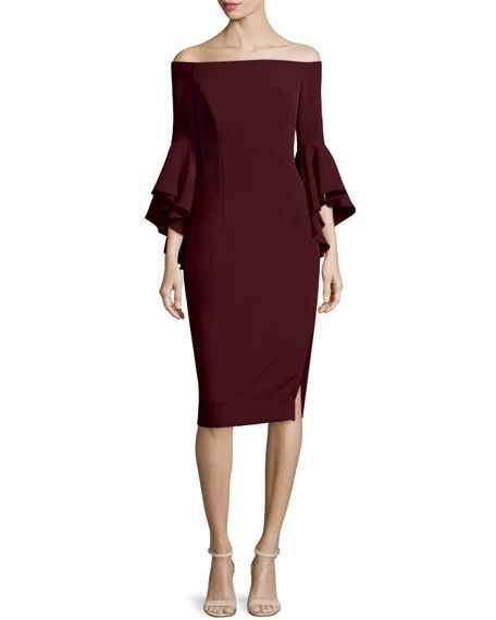 Milly Selena Off-The-Shoulder Sheath Dress, Bordeaux, $485