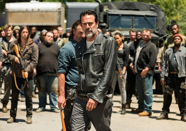 Andrew Lincoln as Rick Grimes and Jeffrey Dean Morgan as Negan.
