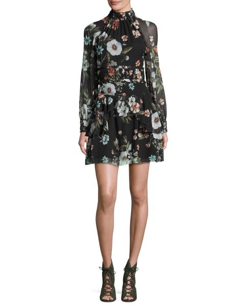 NICHOLAS, Vintage Floral High-Neck Mini Dress, $595
