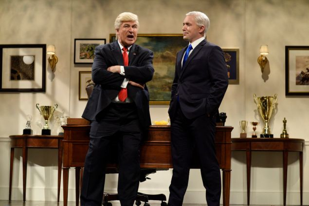 Alec Baldwin as Donald Trump and Beck Bennett as Mike Pence. (Photo by: Will Heath/NBC)