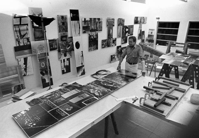 Robert Rauschenberg working on Photem Series I #25 (1981) in his Laika Lane studio, Captiva, Florida, January 1981.