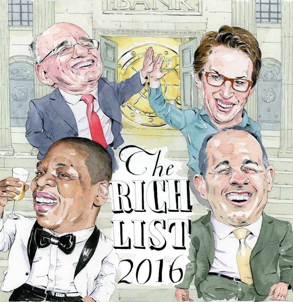 Clockwise from top left: Rupert Murdoch, Rachel Maddow, Jerry Seinfeld and Jay-Z.